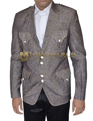 Mens Light Gray Blazer 4 Pocket Notch Lapel
