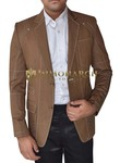 Mens Brown Linen Blazer 2 Button Notch Lapel