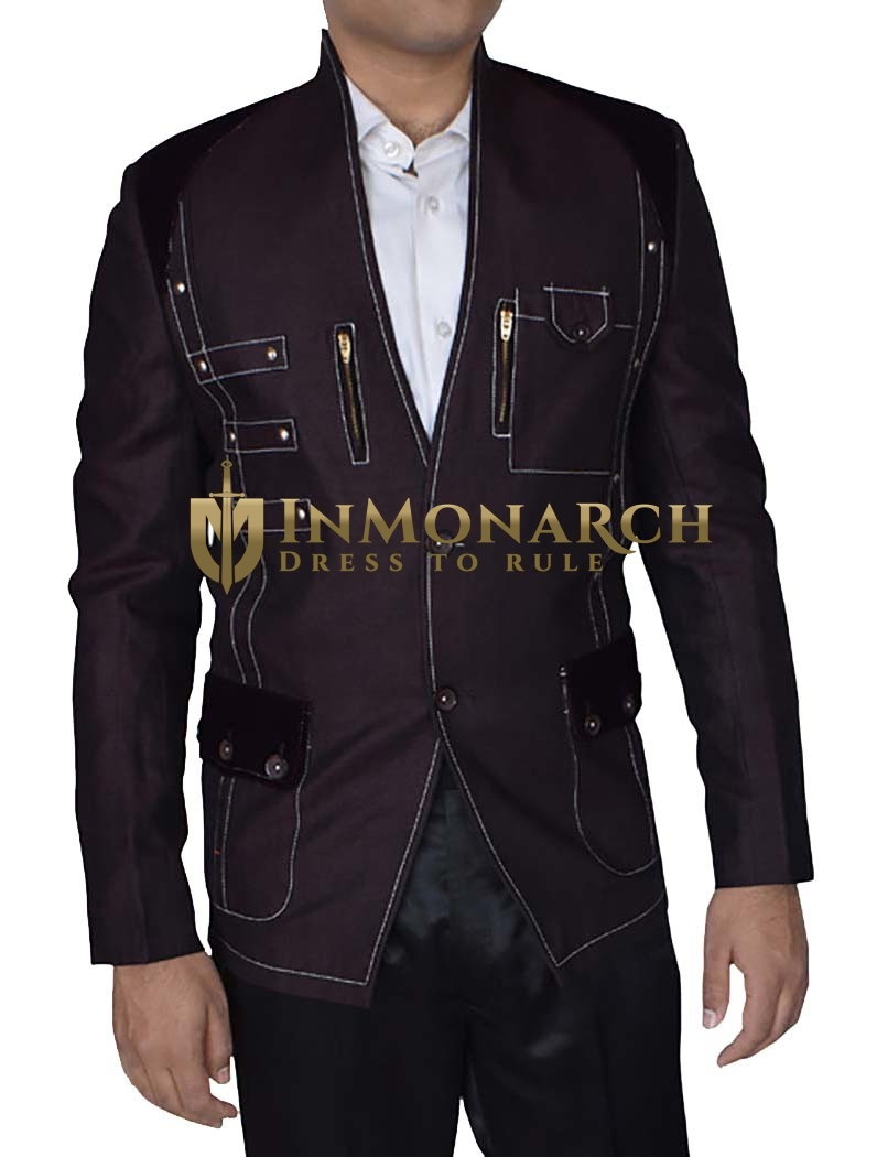 Mens Classic Fit 2-Button stylish high Neck Blazer