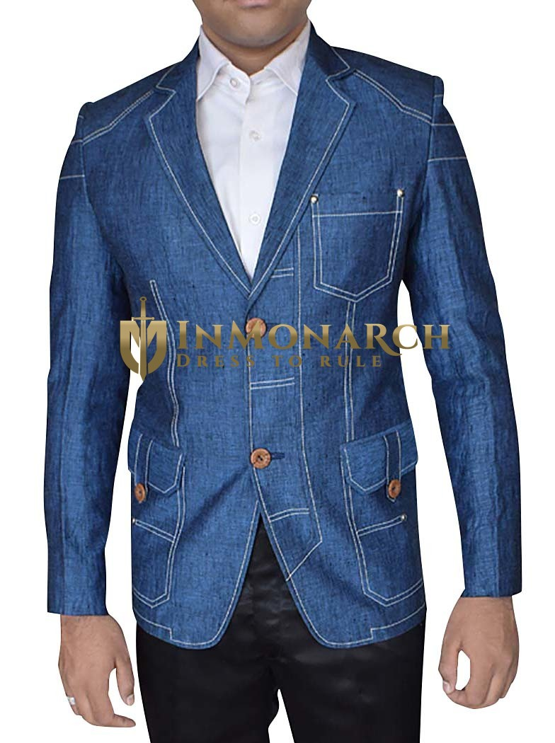 Mens Denim Blue Blazer Notched Collar Trim-Fit