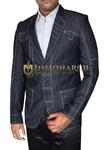 Mens Linen Dark Gray Blazer Fashion Wear Skinny Fit
