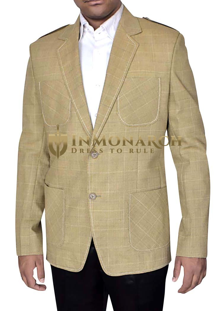 Mens Tan Sports Blazer Handsome Checked