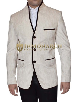 Mens Beige Linen Jacket 3 Button with High Neck
