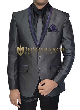 Mens Gray Polyester 5 pc Tuxedo Suit Shawl Collar