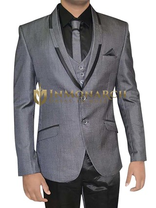 Mens Gray 6 pc Tuxedo Suit Indian Wedding