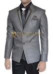 Mens Gray Polyester 7 pc Tuxedo Suit Shawl Collar