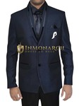 Mens Navy Blue 6 pc Tuxedo Suit Polyester