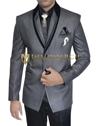 Mens Gray Polyester 7 pc Tuxedo Suit Two Button