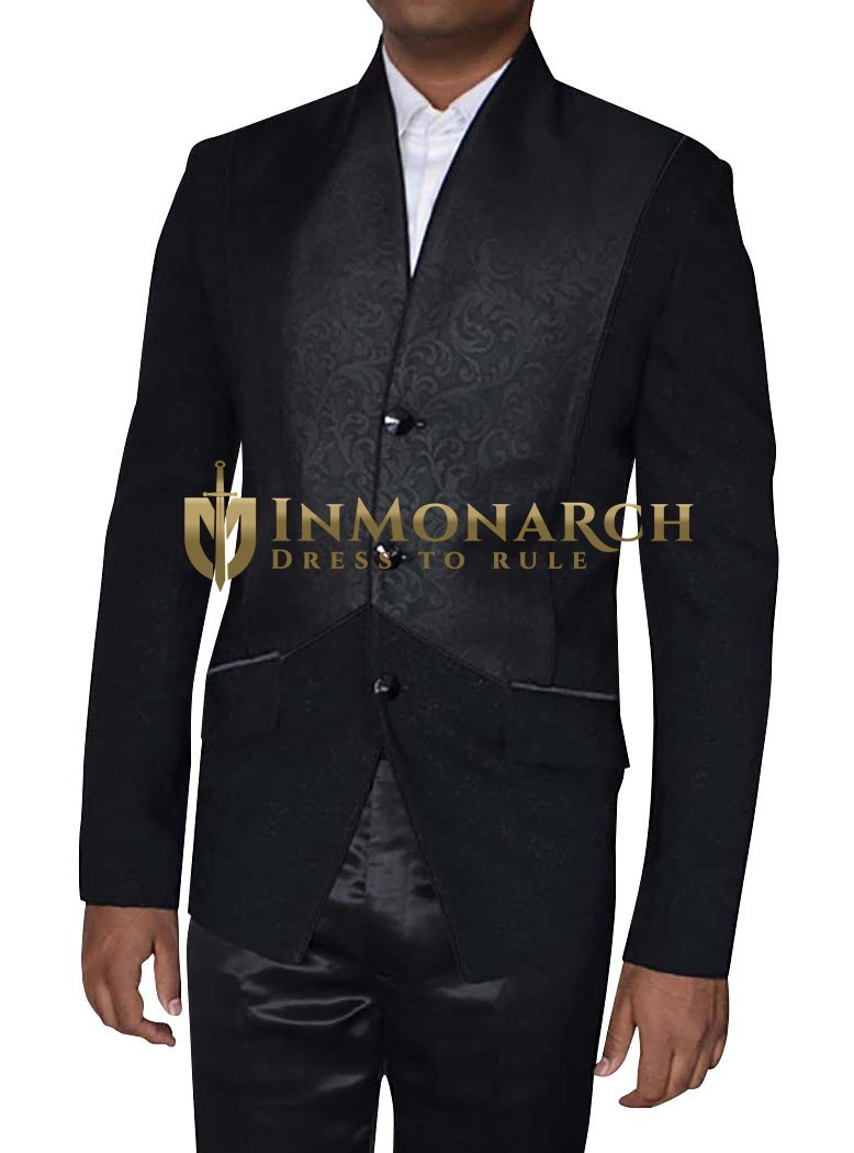 Mens Black Jacket Trendy V-Neck 3 Button