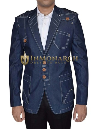 Mens Blue Jeans Cotton Blazer Embroidered Classic Fit