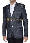 Mens Dark Gray Blazer Designer Notch Lapel 2-Button
