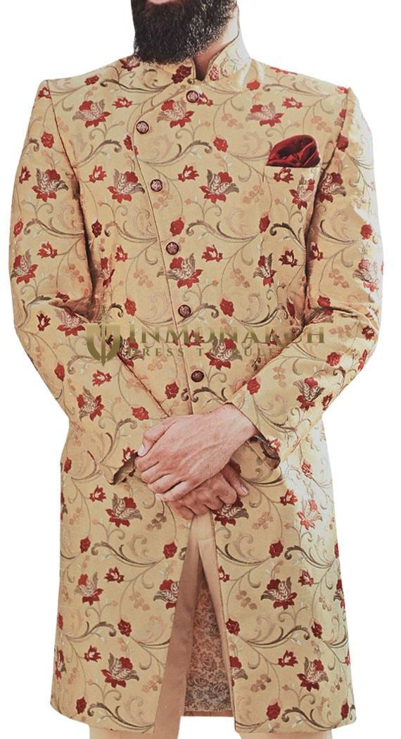 Burlywood Mens Sherwani for Groom Embellished with Floral Motifs