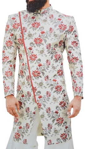 Cream Mens Indian Sherwani for Groom Embellished with Floral Motifs