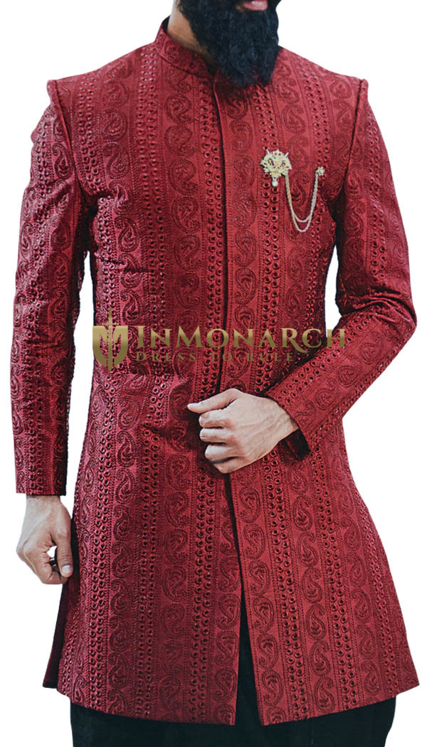 Red Sherwani for Men Embellished with Paisley motifs