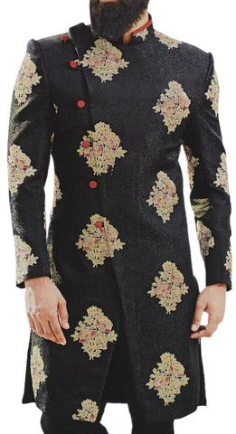 Black Sherwani for Men Indian Dress Embellished with Floral Motifs