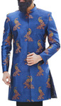 Blue Indo-western Sherwani for Men Embellished with Peacock Motifs