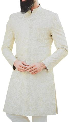 Cream Indian Mens Sherwani Indian Dress for Groom decorated with Floral Motifs