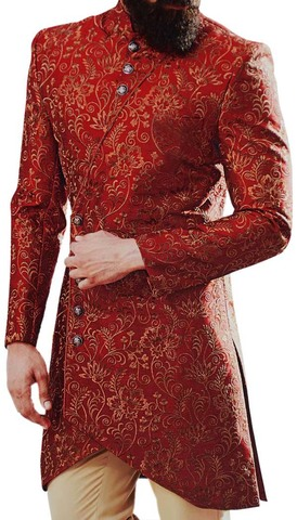 Red Wedding Traditional Mens Sherwani Decorated with Floral Motifs