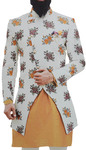 Cream Mens Sherwani for Indian Wedding Decorated with Floral Motifs