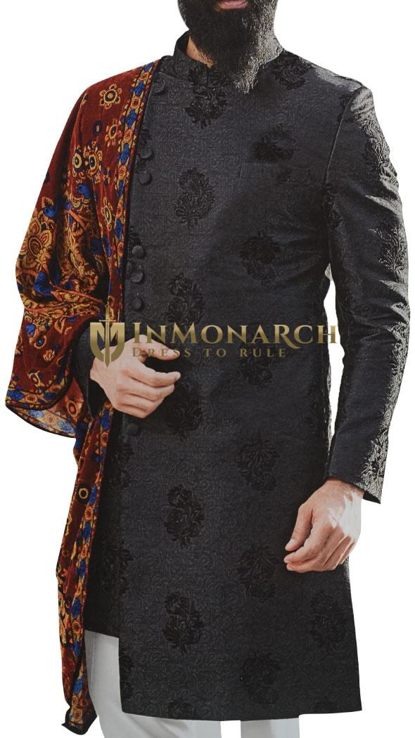 Black Sherwani for Men Indian Clothing Decorated with Floral Motifs