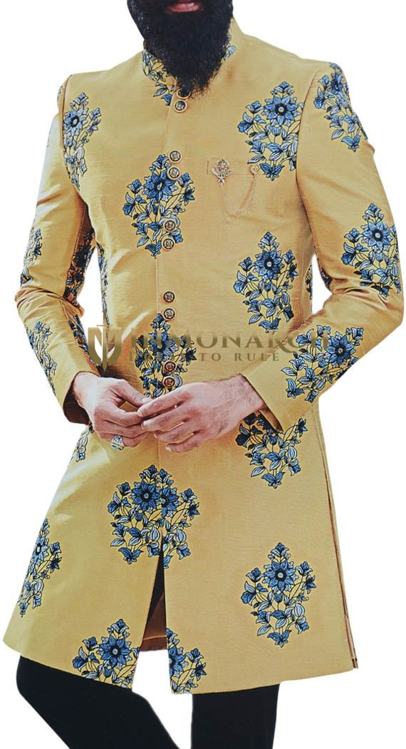 Yellow Wedding indian sherwani for Men Embellished with Floral Motifs