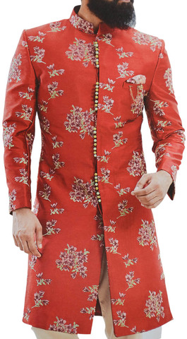 Red Sherwani for Men Embellished with Floral Motifs