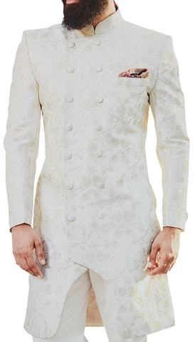 Cream Double Breasted Indo-western Sherwani for Men Decorated with Floral Motifs