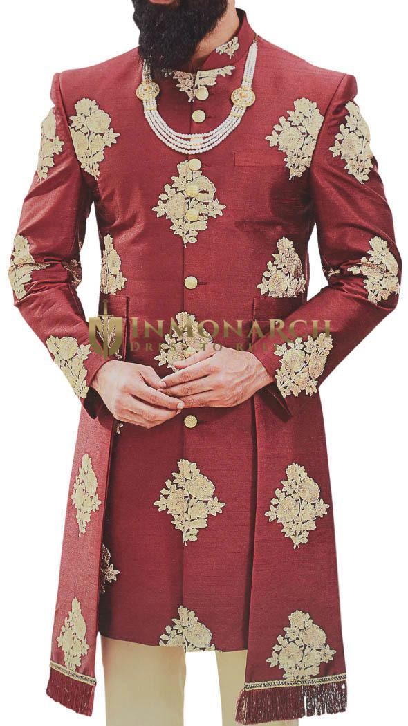 Maroon Sherwani for Men Indian Wedding Embellished with Floral Motifs