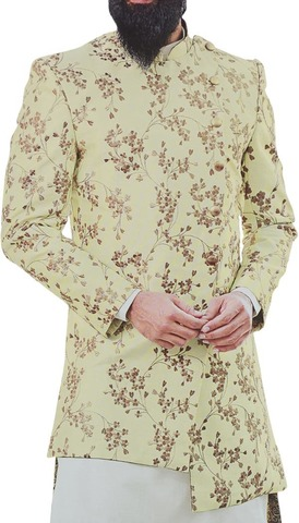 Mens yellow Sherwani Embellished with Motifs