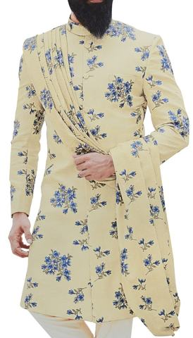 Ivory Mens Sherwani Indian Dress Embellished with Floral Motifs