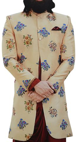 Beige Mens Indian Sherwani for Groom Embellished with Floral Motifs