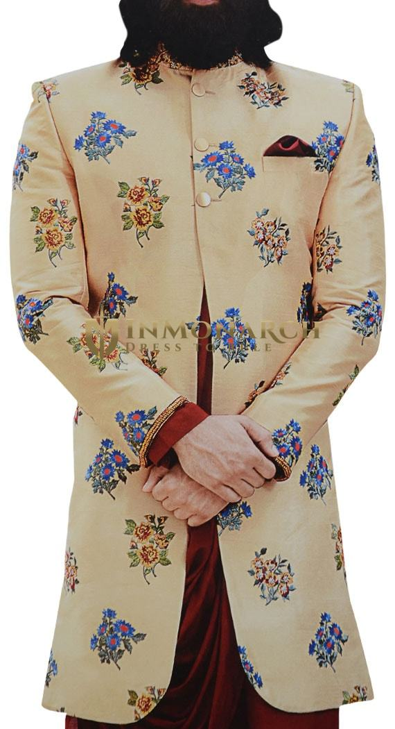 Tan Mens Sherwani Decorated with Floral Motifs