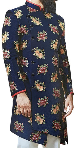 Navy Blue Sherwani for Men Embellished with Floral Motifs