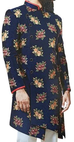 Navy Blue Sherwani for Men Embellished with Floral Motifs