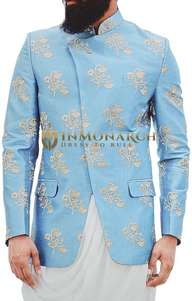 Mens Teal Embroidered Jodhpuri Suit Indian Wedding Suit