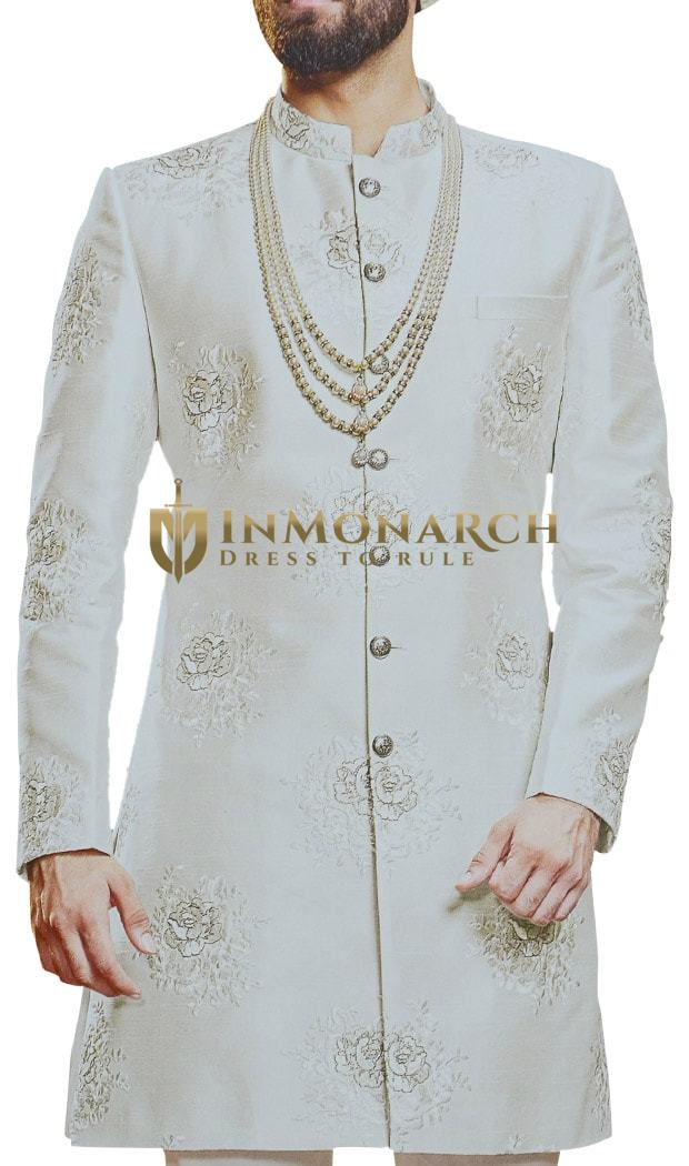 Cream Mens Indian Sherwani Wedding Indowestern Outfit