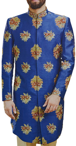 Mens Royal Blue Sherwani Indian Wedding for Groom Embroidered Indowestern