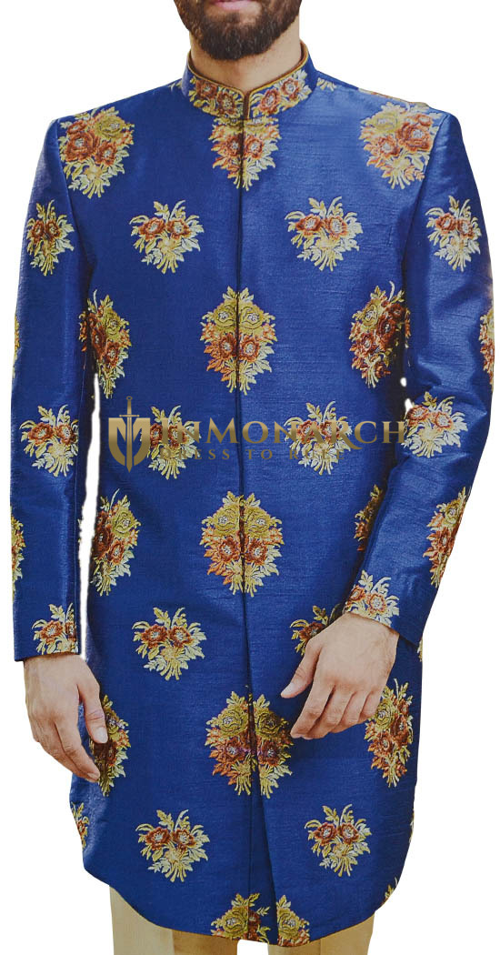 Royal Blue Men Indian Clothing Sherwani with embellished floral motifs