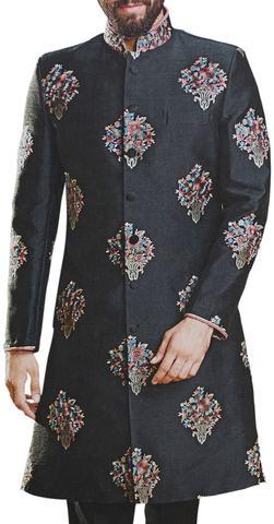 Mens Black Sherwani with Embellished Floral Motifs