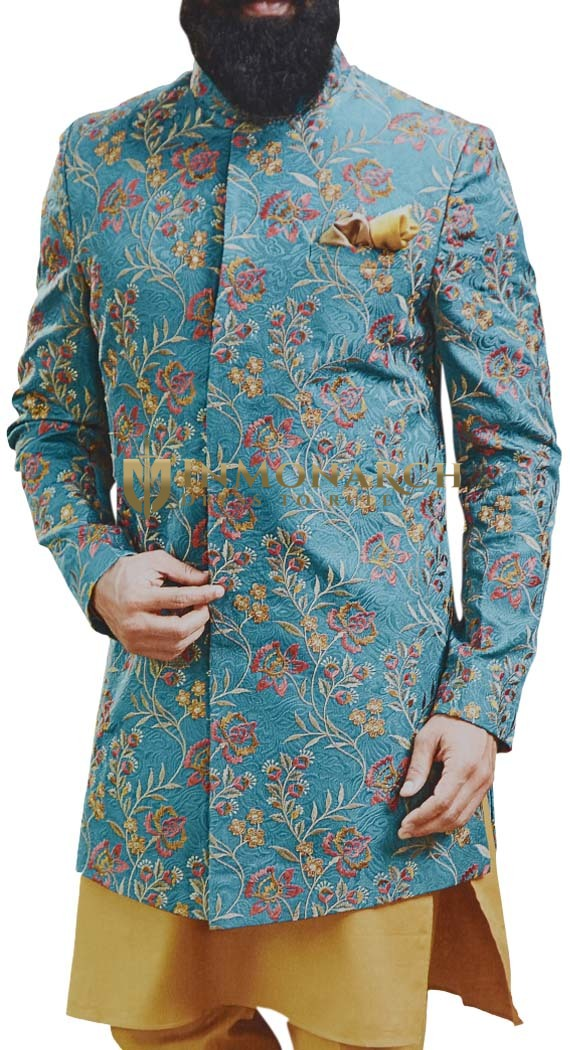 Jodhpuri Embroidered Indian Wedding Groom Suit with Mandarin Collar in peacock color