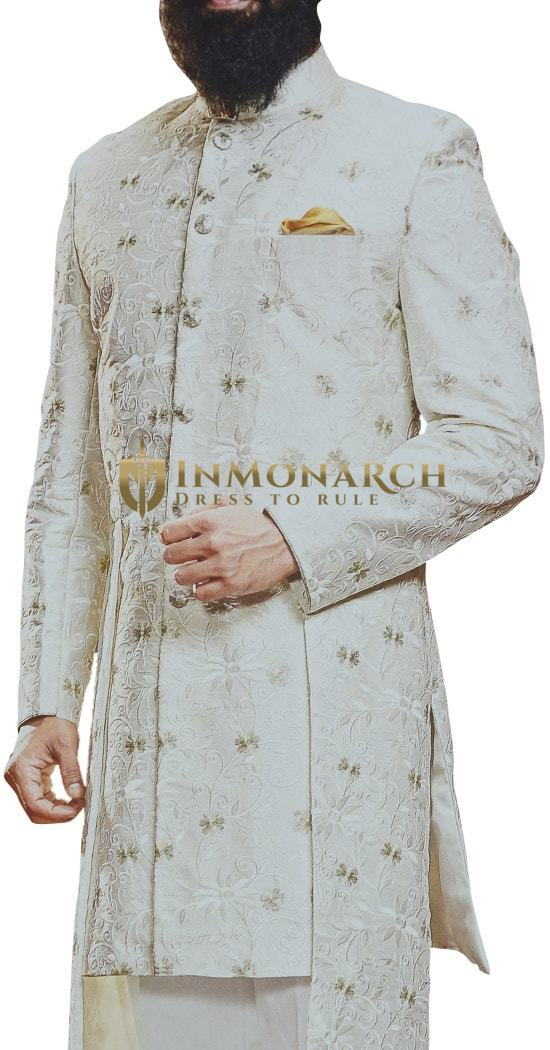 Ivory Sherwani for Men Wedding Indian Groom Outfit
