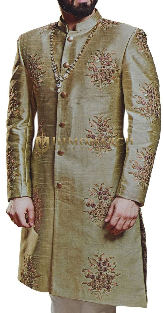 Olive Drab Sherwani for Men Indian Wedding with Floral Motifs