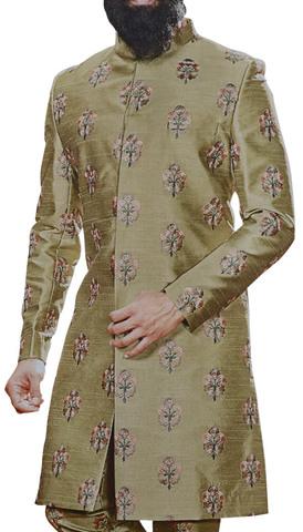 Olive Drab Sherwani for Men Indian Clothing Embellished with Floral Motifs