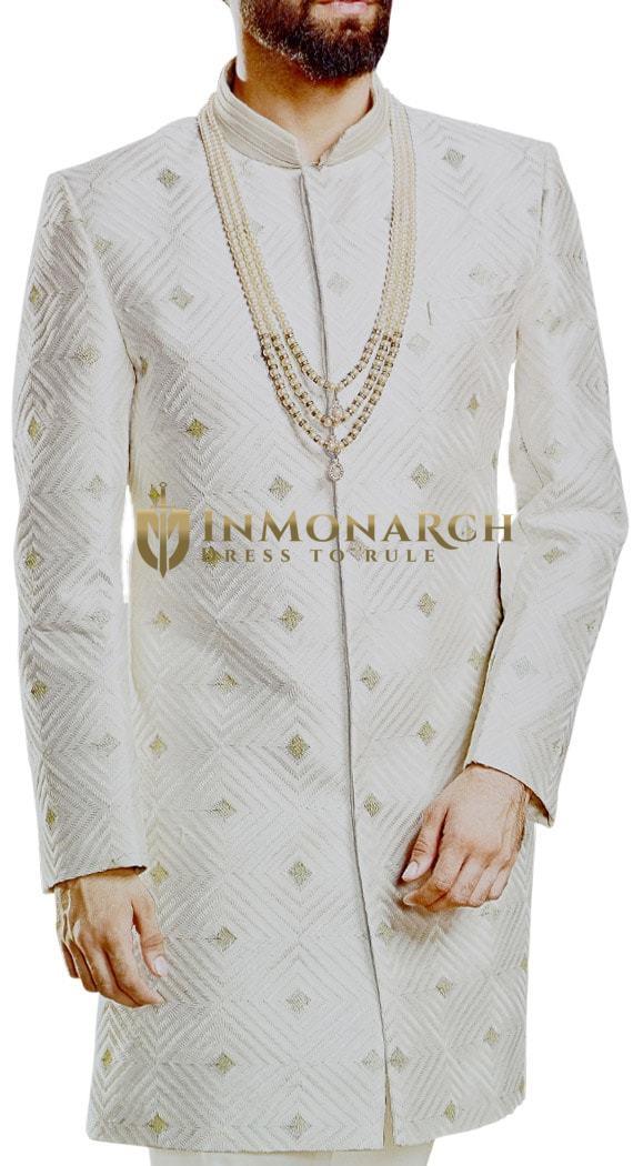 Cream Sherwani for Men Wedding Indian Groom Outfit