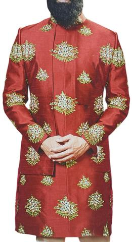 Red Sherwani for Men with Floral Motifs