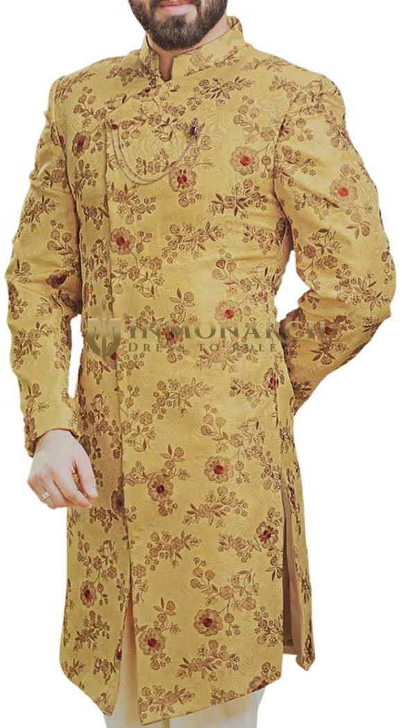 Yellow Indian Sherwani for Men and Groom Wedding Clothing