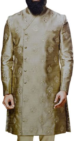 Olive-drab Sherwani for groom embroidered indian clothing for men