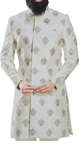 Embroidered Cream Sherwani For Men Wedding Indian Groom Outfit