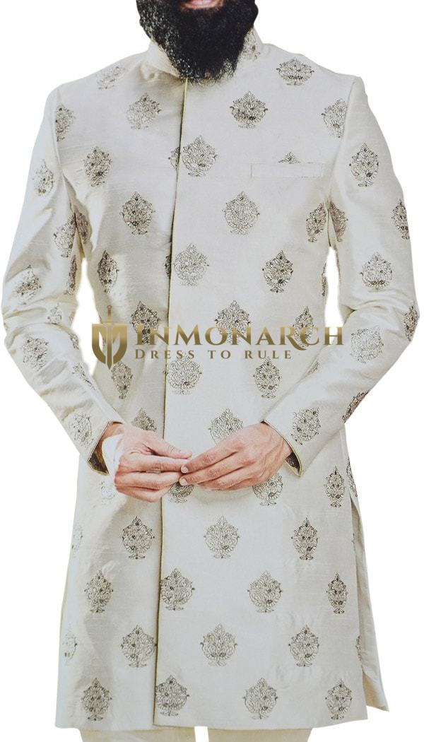 Cream Sherwani for Men Indian Groom Outfit with Floral Motifs