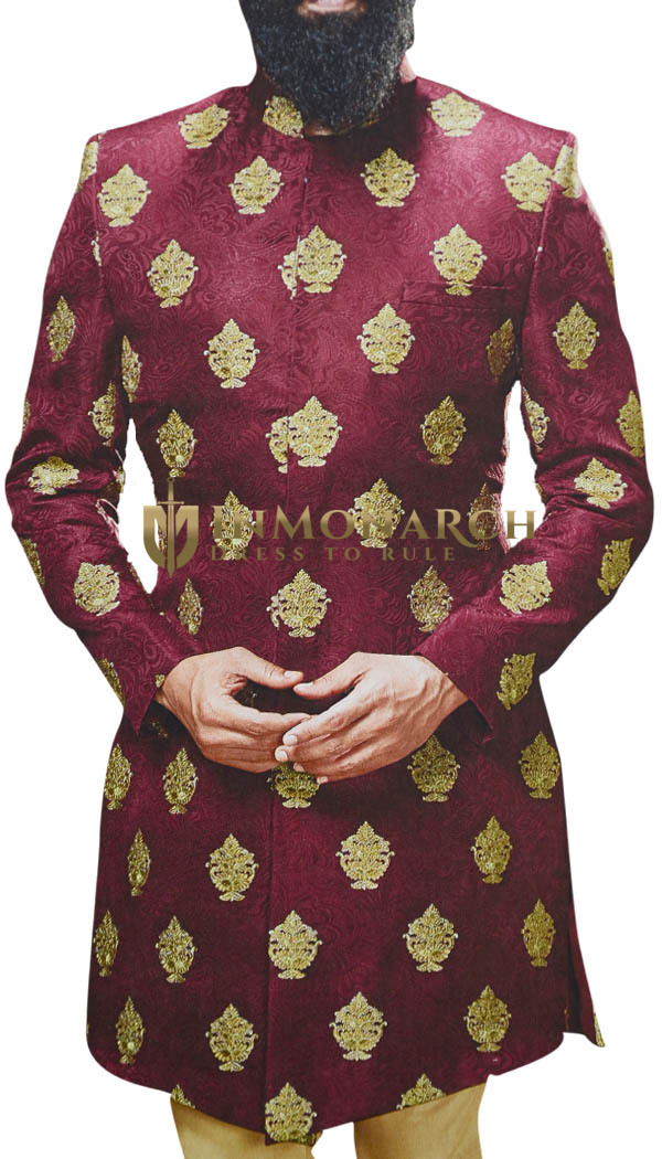Indian Mens Red Sherwani for Wedding